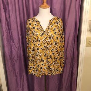 H&M Yellow White Floral Button Down Shirt